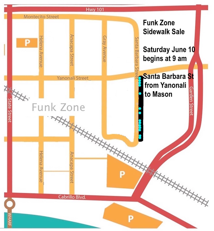 Funk Zone Neighborhood Sidewalk Sale title=