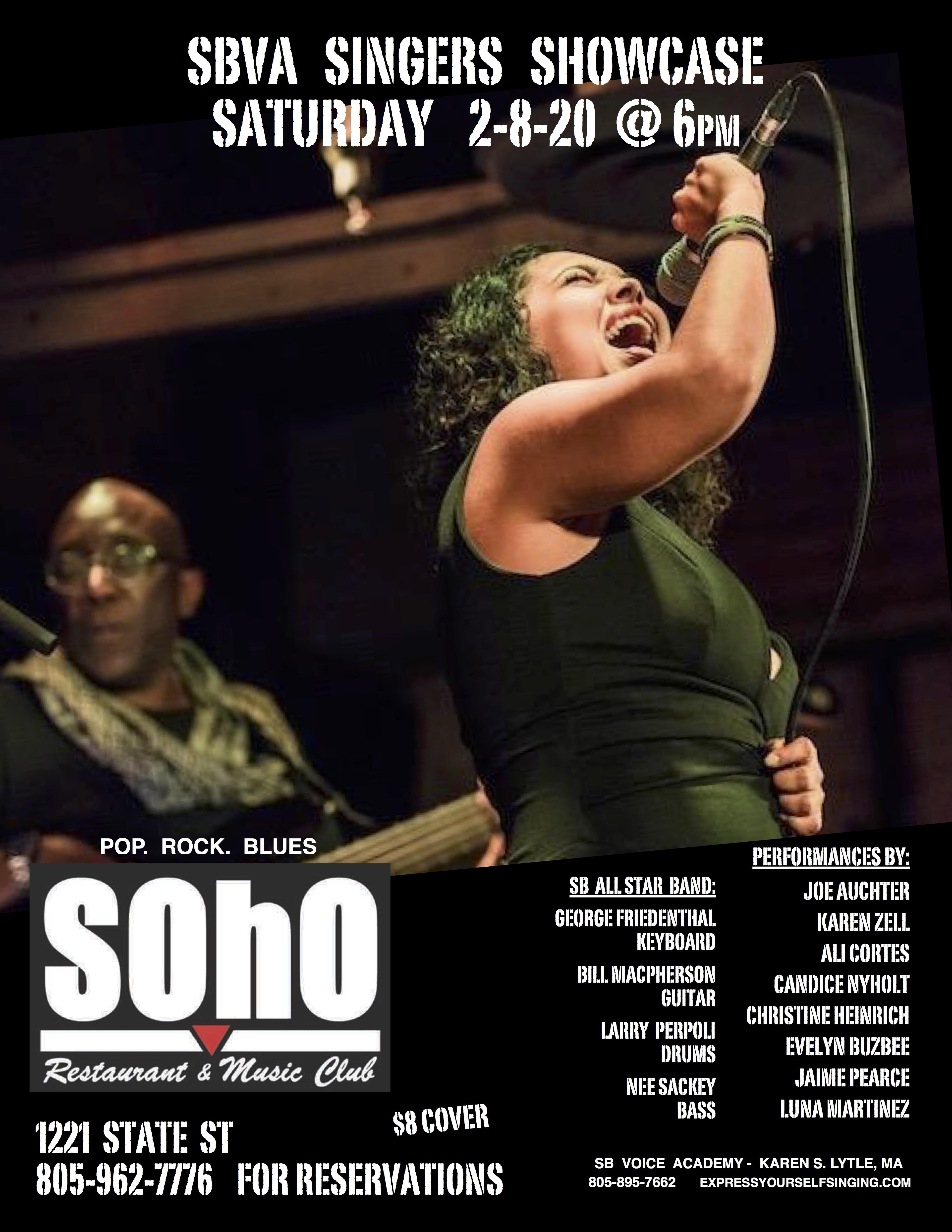 SBVA Singer Showcase @ SOHO Saturday 2-8-20 @ 6pm title=