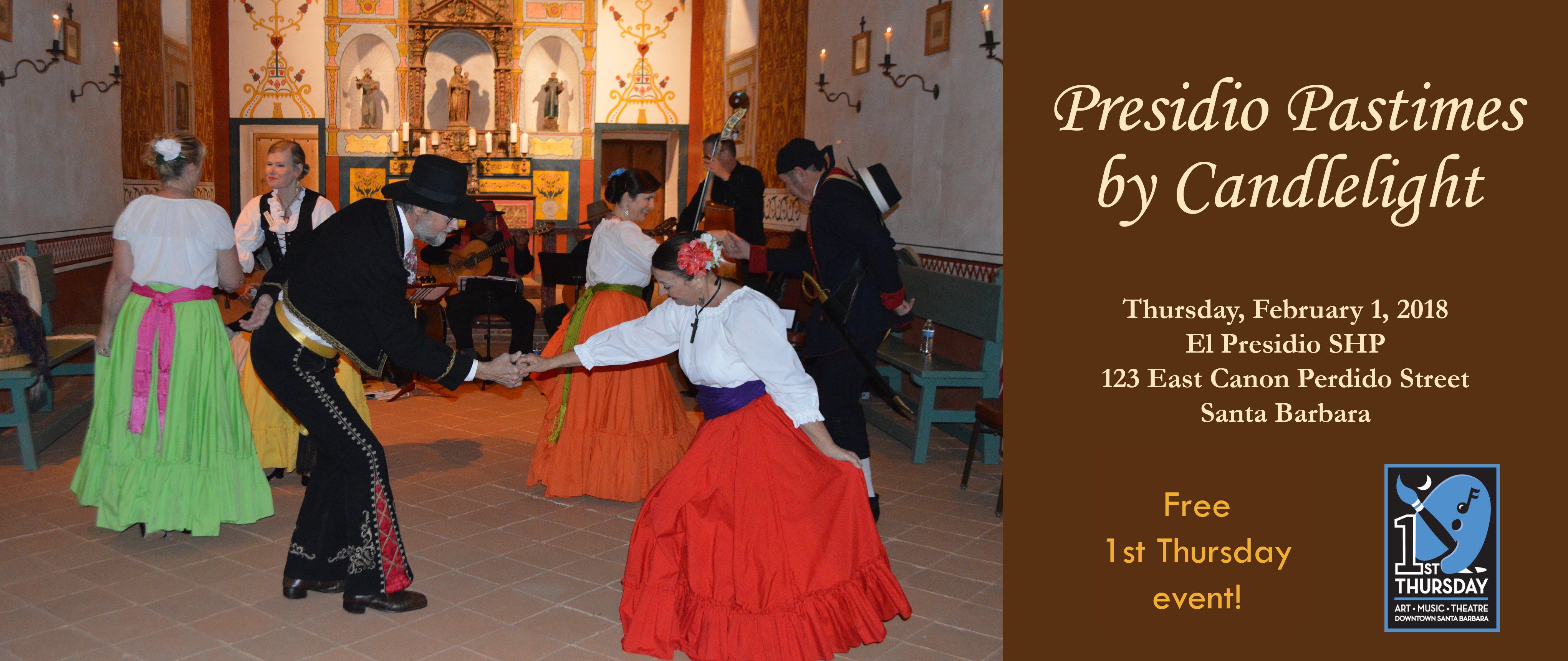Presidio Pastimes by Candlelight - 1st Thursday Event title=