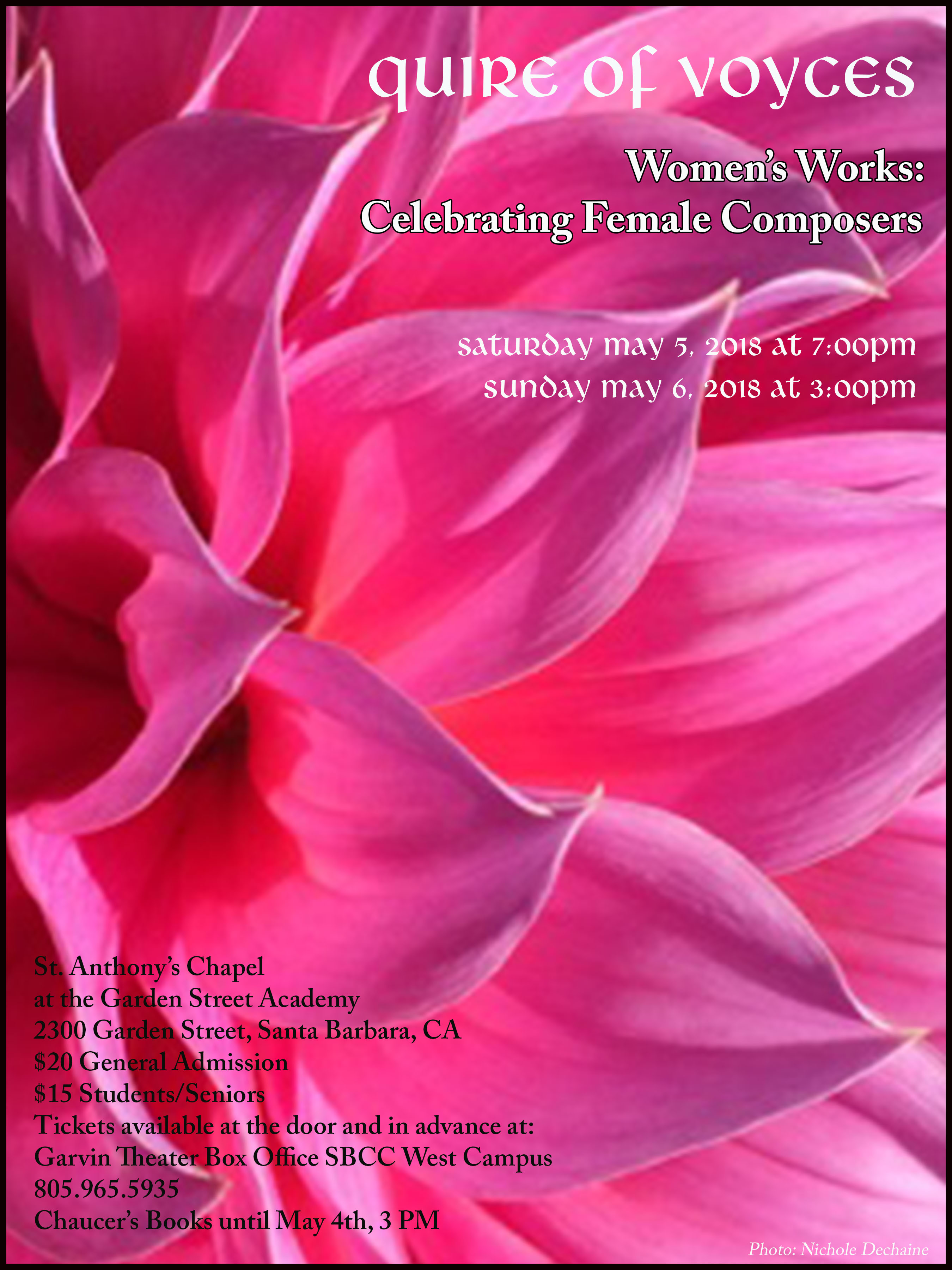 Quire of Voyces Spring Concerts May 5th & 6th, 2018 St. Anthony's Chapel title=