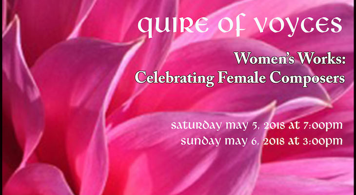 Quire of Voyces Spring Concerts May 5th & 6th at St. Anthony's Chapel title=