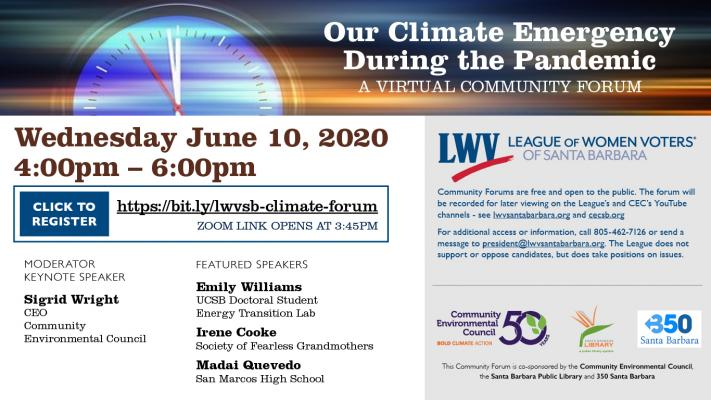 League of Women Voters Forum: Our Climate Emergency During the Pandemic title=