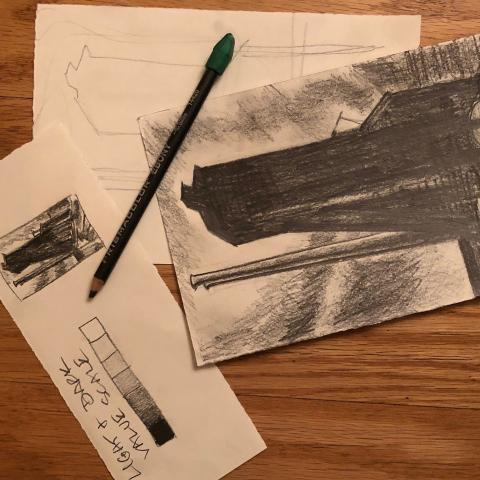 Adult Studio Art Workshop (via Zoom): Introduction to Drawing title=
