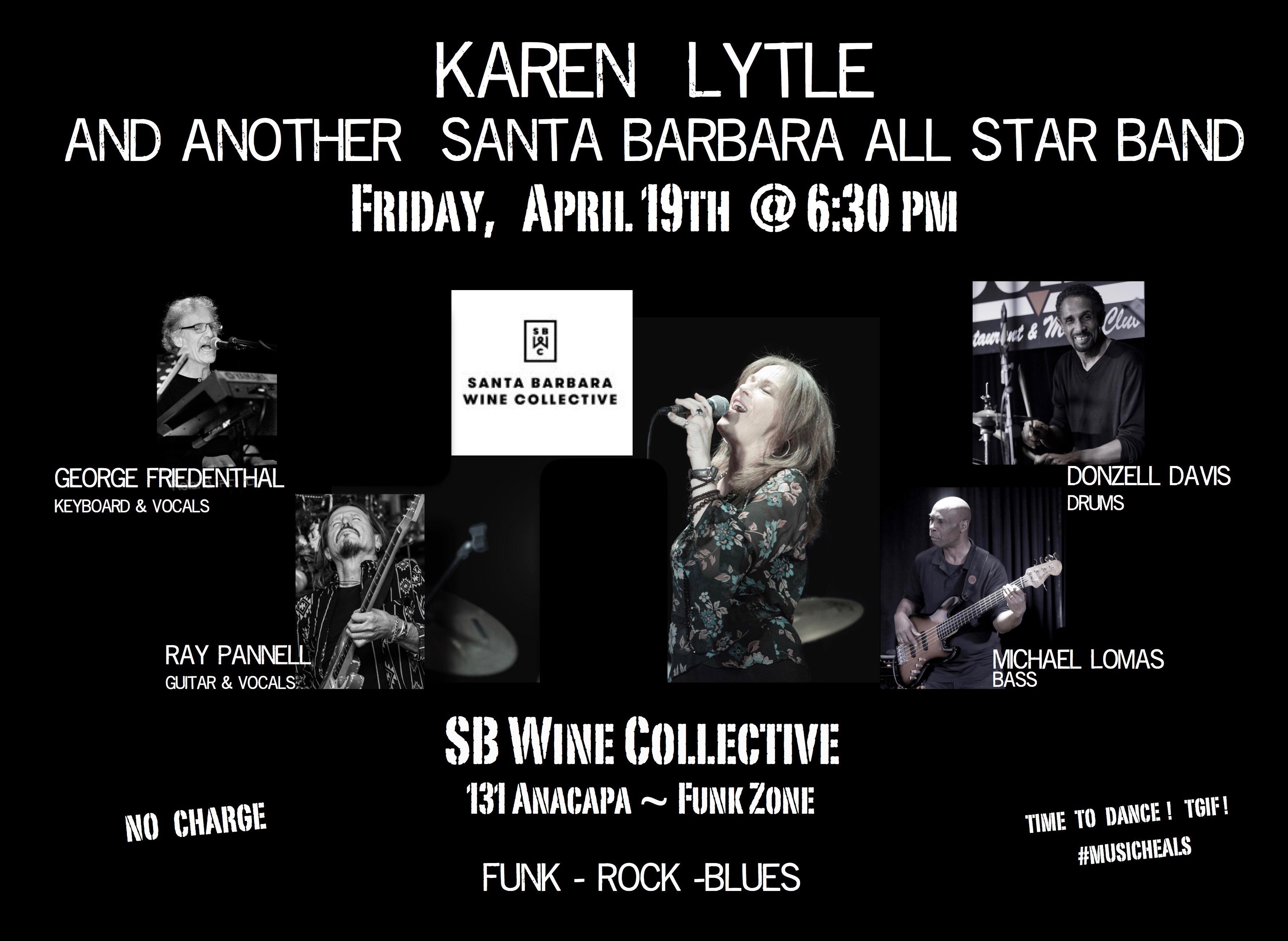 Karen Lytle and the Santa Barbara All-Star Band perform live at Santa Barbara Wine Collectiv