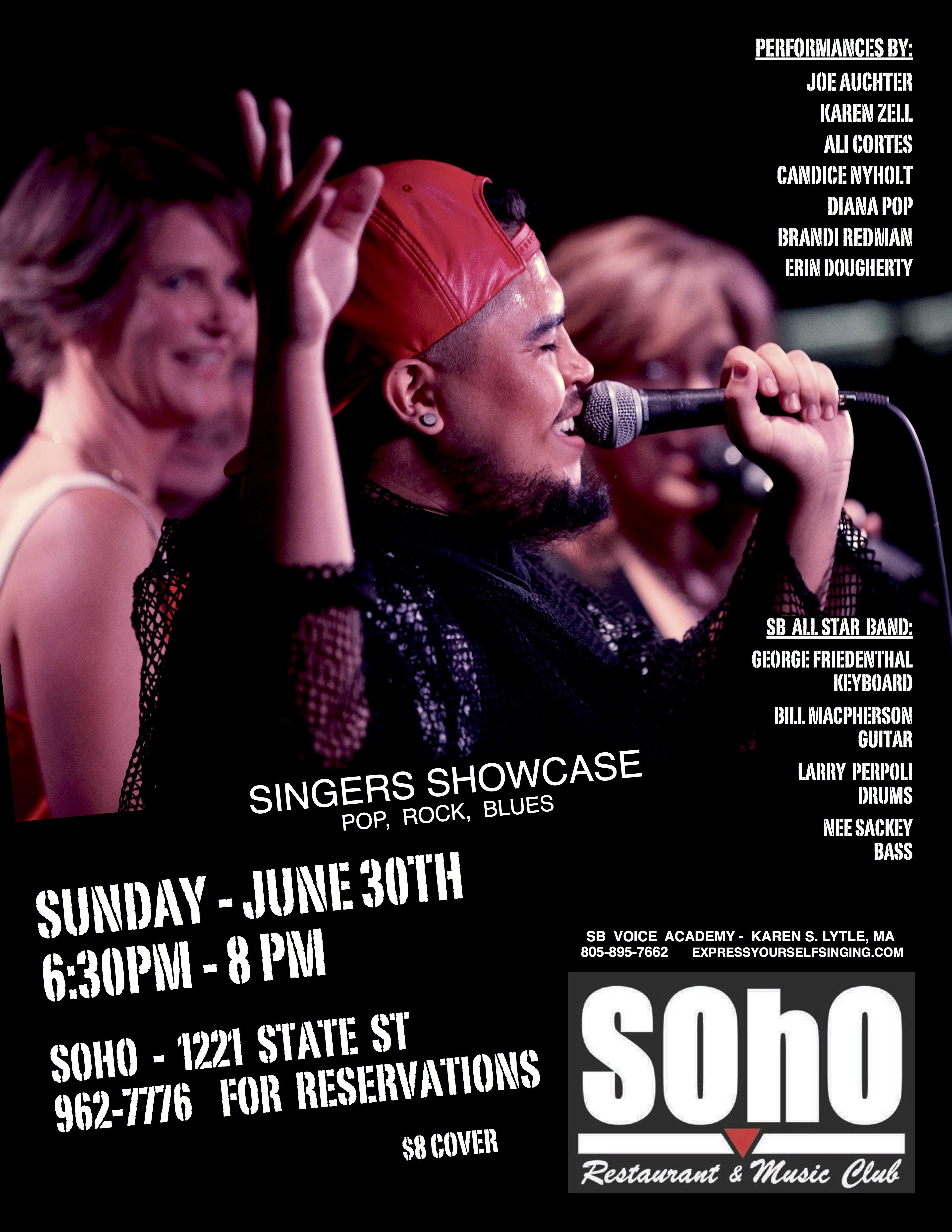 SBVA Singer Showcase @ Soho 6/30/19 6:30pm title=
