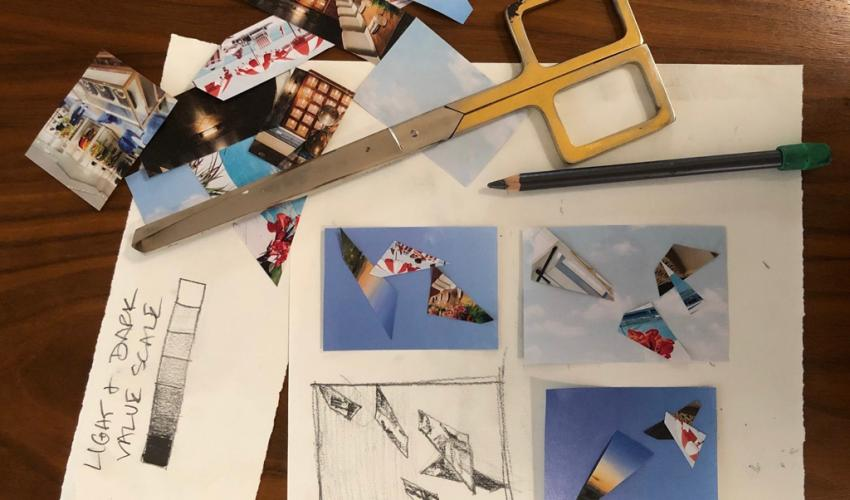 Adult Studio Art Workshop (via Zoom): Introduction to Drawing & Collage title=