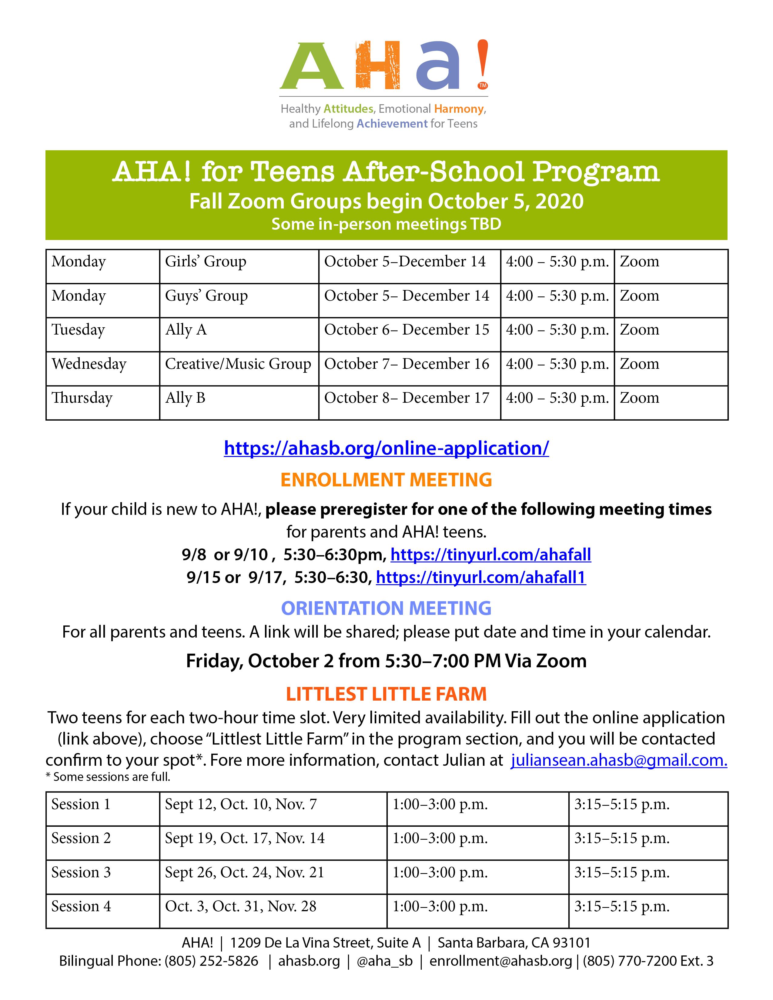 Fall Programs AHA!  title=