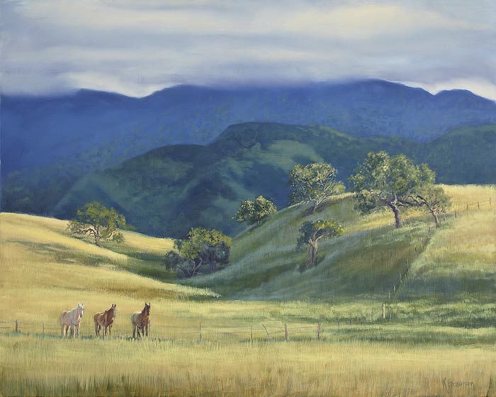 Early spring colors in a Santa Ynez pastoral scene as a storm clears. The horses look as if their waiting for love.