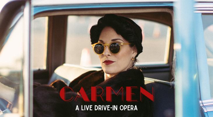 Carmen, live, drive in opera title=