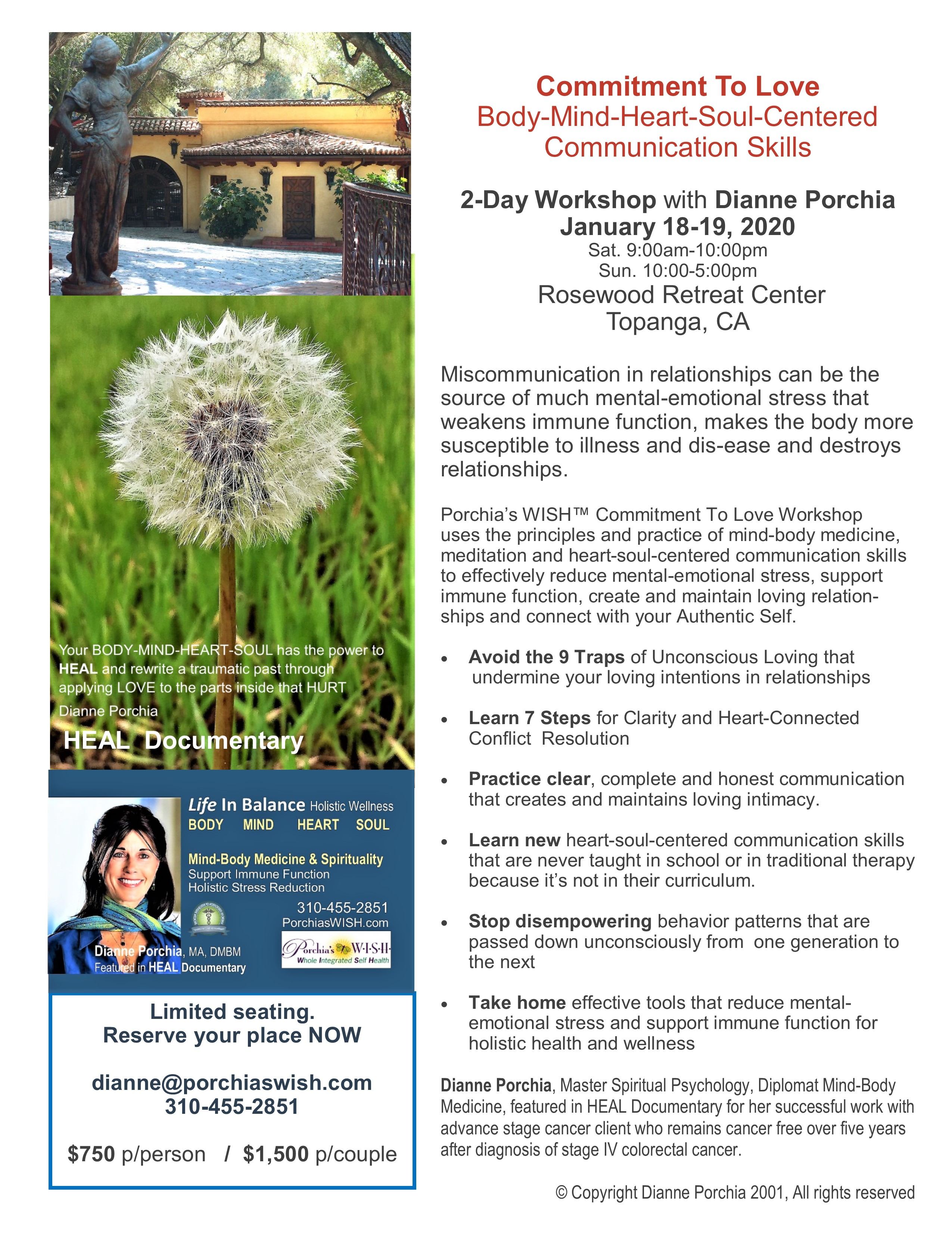 COMMITMENT TO LOVE: 2-Day Workshop on Heart-Soul-Centered Communication Skills title=