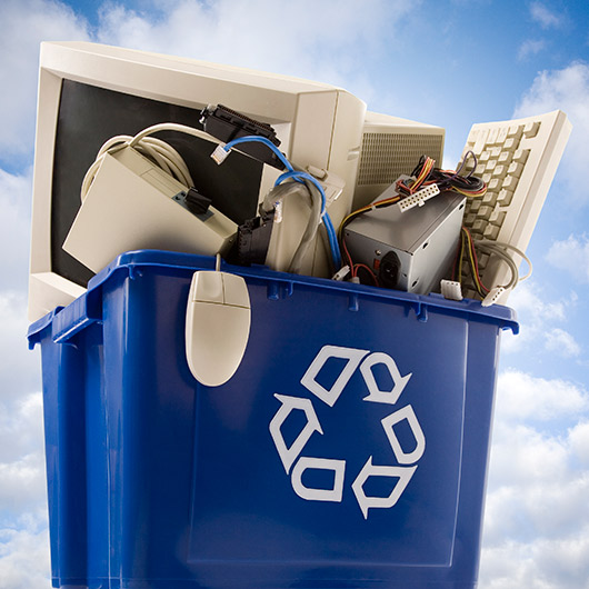 Recycle basket with electronic waste title=