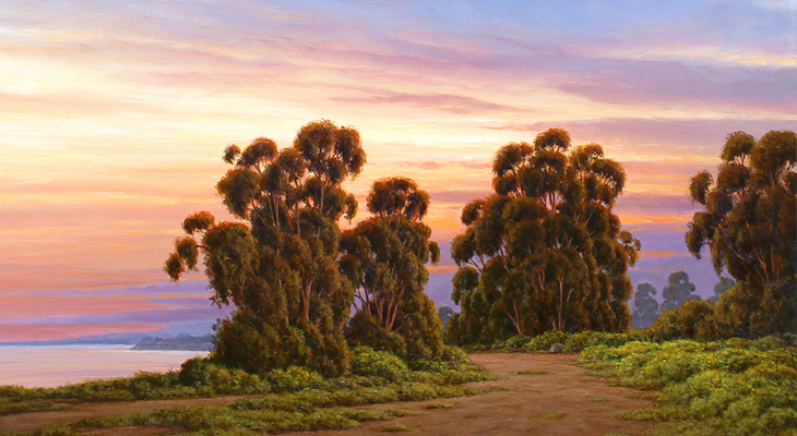 """Ralph Waterhouse, detail of """"Evening Glow, Spring at Douglas Preserve,"""" oil, 36 x 26 inches. title="""