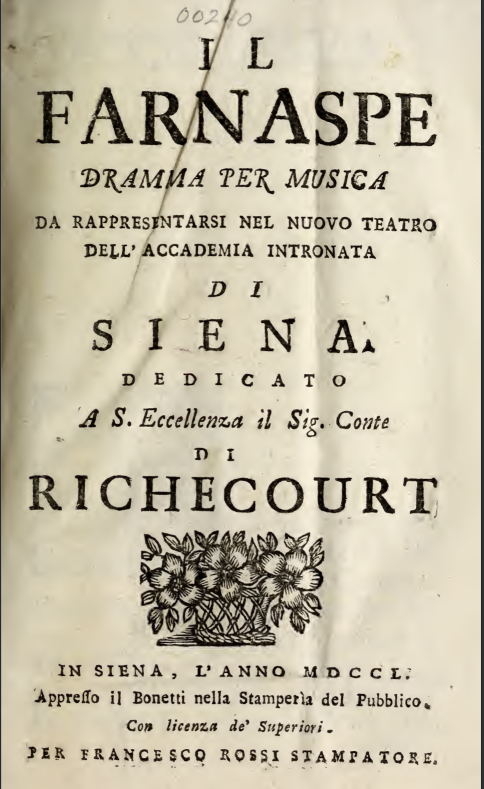 """A Tenor's """"Voice"""" on the Periphery: Cesare Grandi and the Siena Production of Farnaspe (1750) title="""