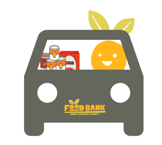 The Foodbank's cheerful mascot is in the driver's seat of its car with a load of healthy food to donate at Fill the Foodbank! title=
