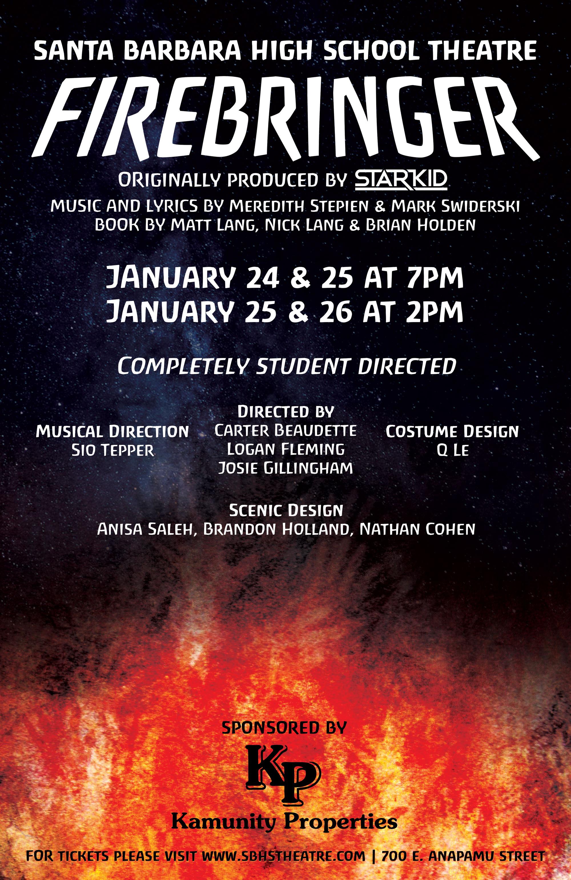 FIREBRINGER at SBHS Theatre - Jan 24, 25, 26 title=
