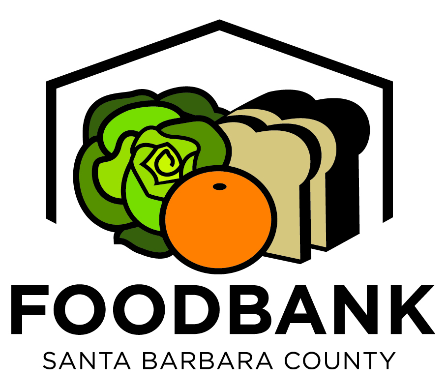 Logo of the Foodbank of Santa Barbara County featuring fresh lettuce, a ripe orange and whole-grain bread in a house where care is found.