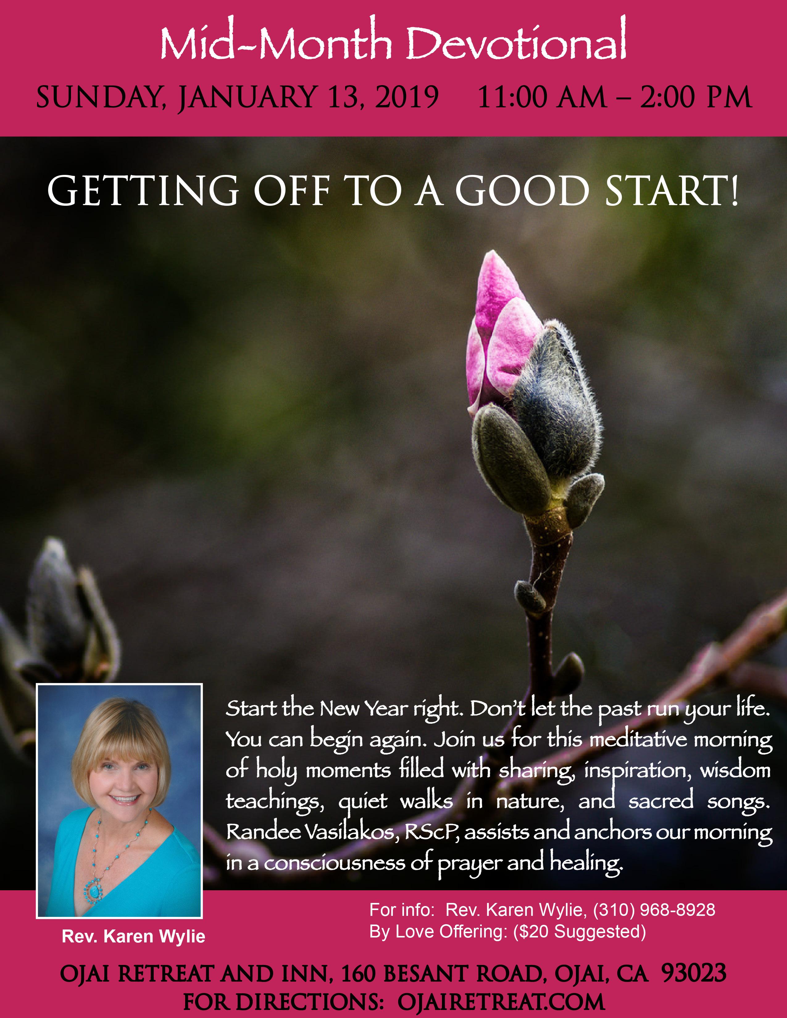 Rev. Karen's monthly devotional retreat for January