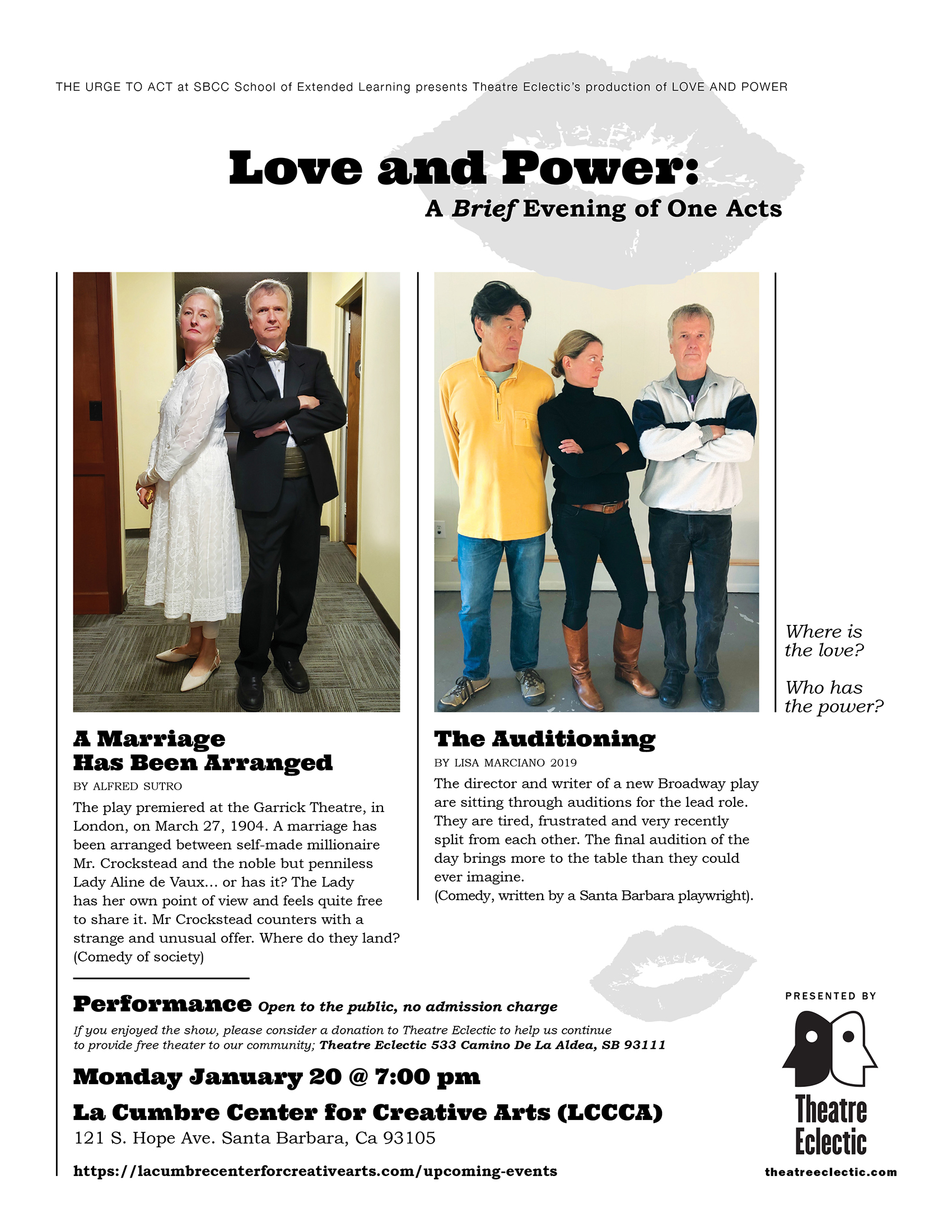 Theatre Eclectic's Love and Power: A Brief Evening of One Acts title=