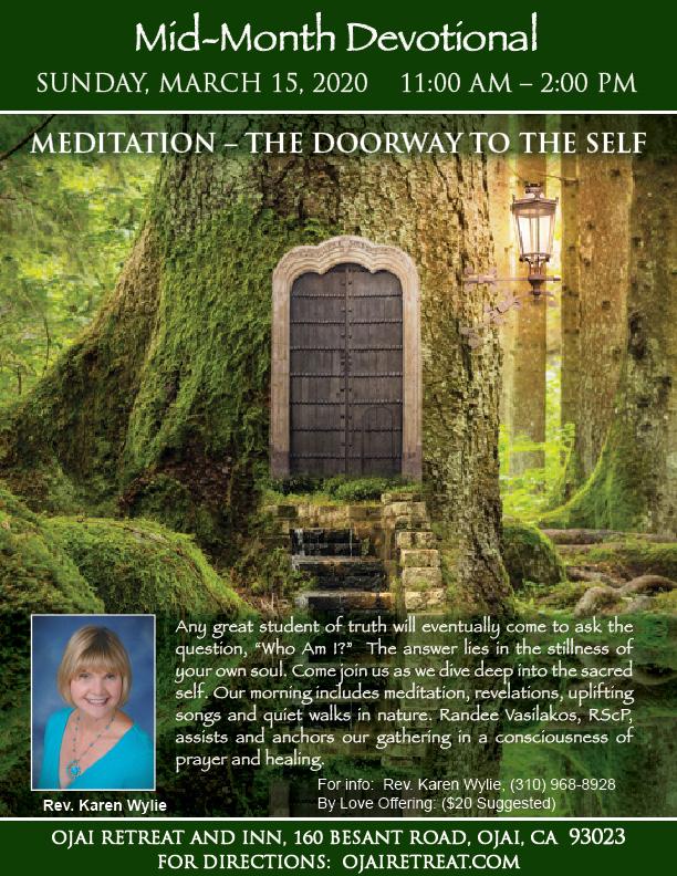 Rev. Karen's Mid-Month Devotional Retreat: Meditation--Doorway to the Self