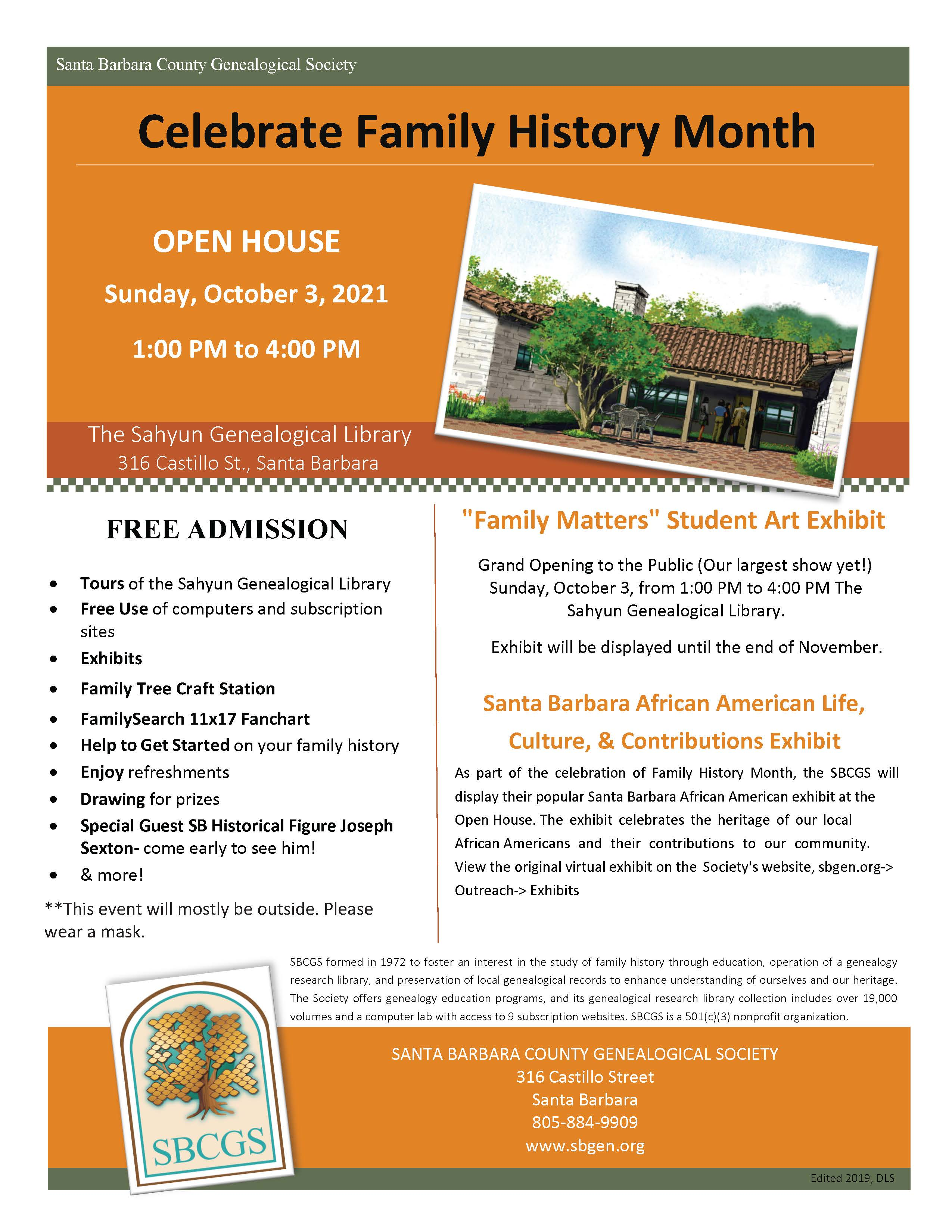 Family History Month Open House Flyer title=