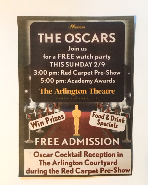 FREE: OSCARS Viewing Party at Arlington Theater Doors @ 3pm title=