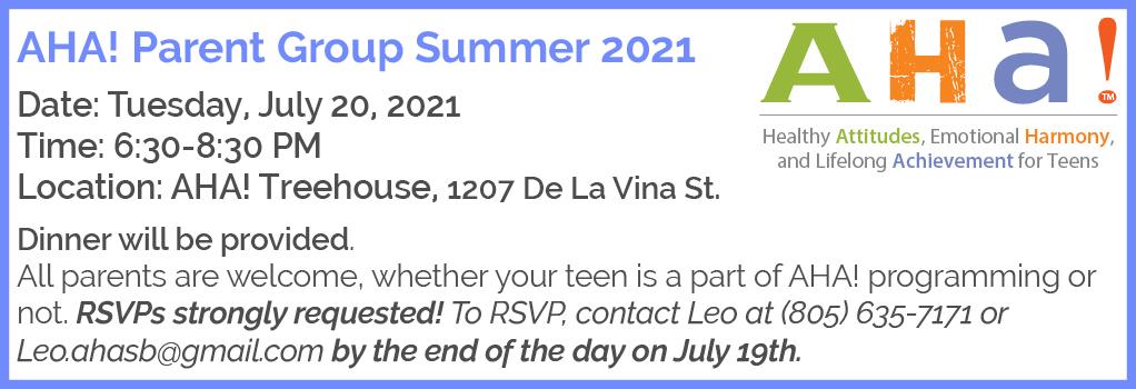 AHA! Summer Parent Group title=