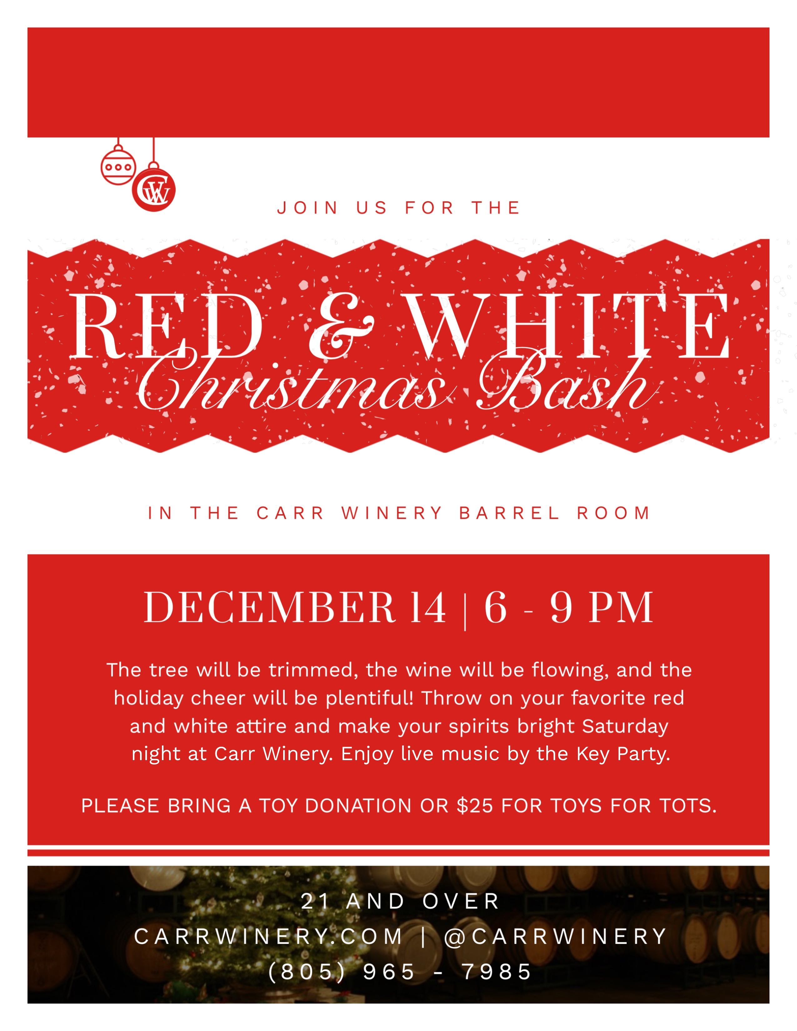 Red & White Christmas Bash at Carr Winery title=
