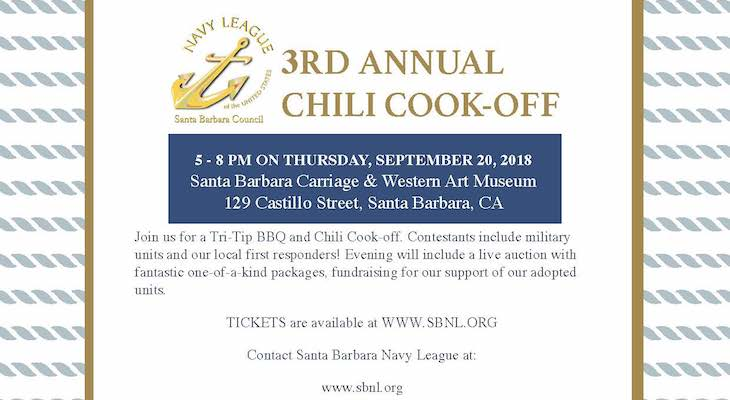 Santa Barbara Navy League's 3rd Annual Chili Cook-off title=