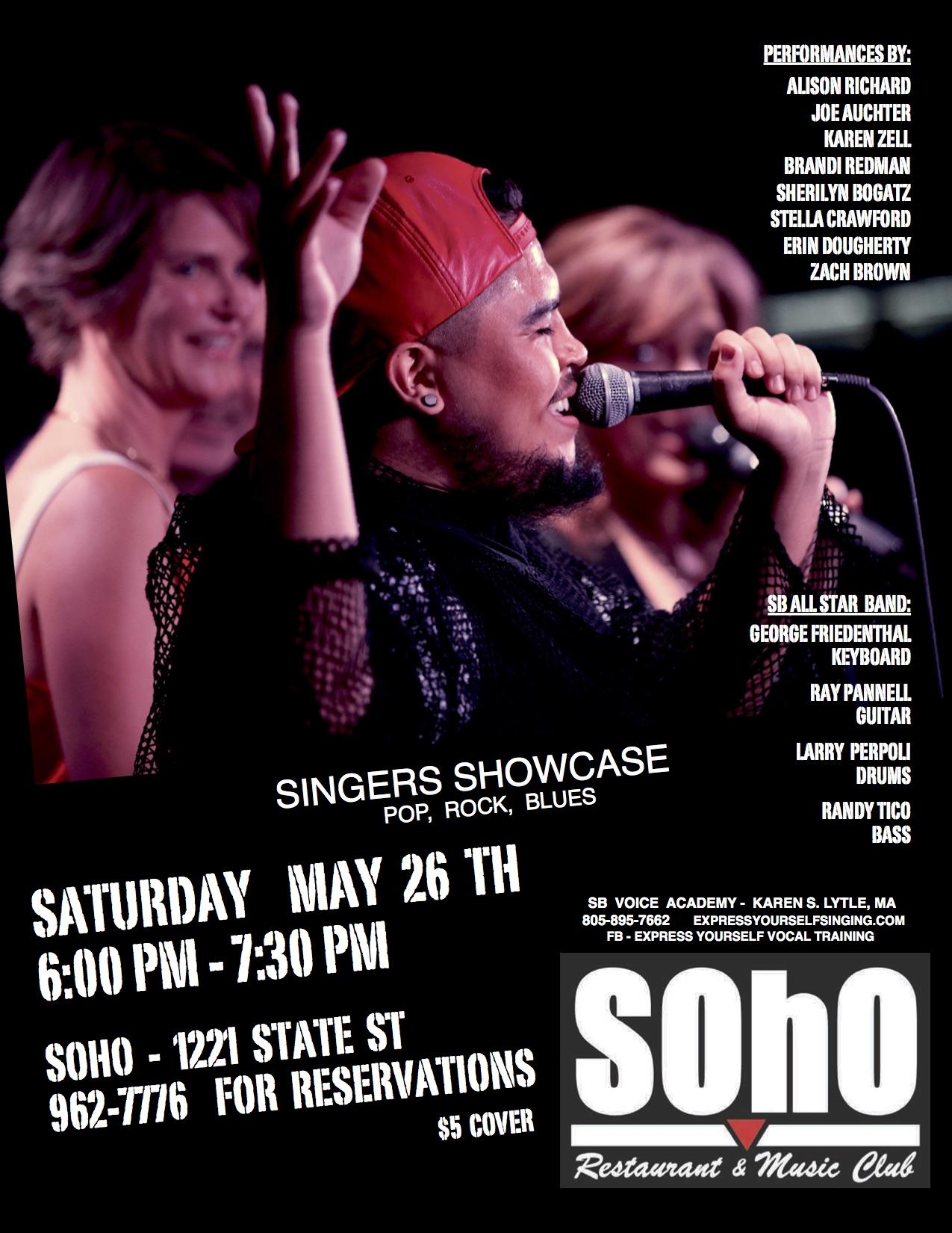 SBVA Singer Showcase @ Soho 5/26/18 6pm