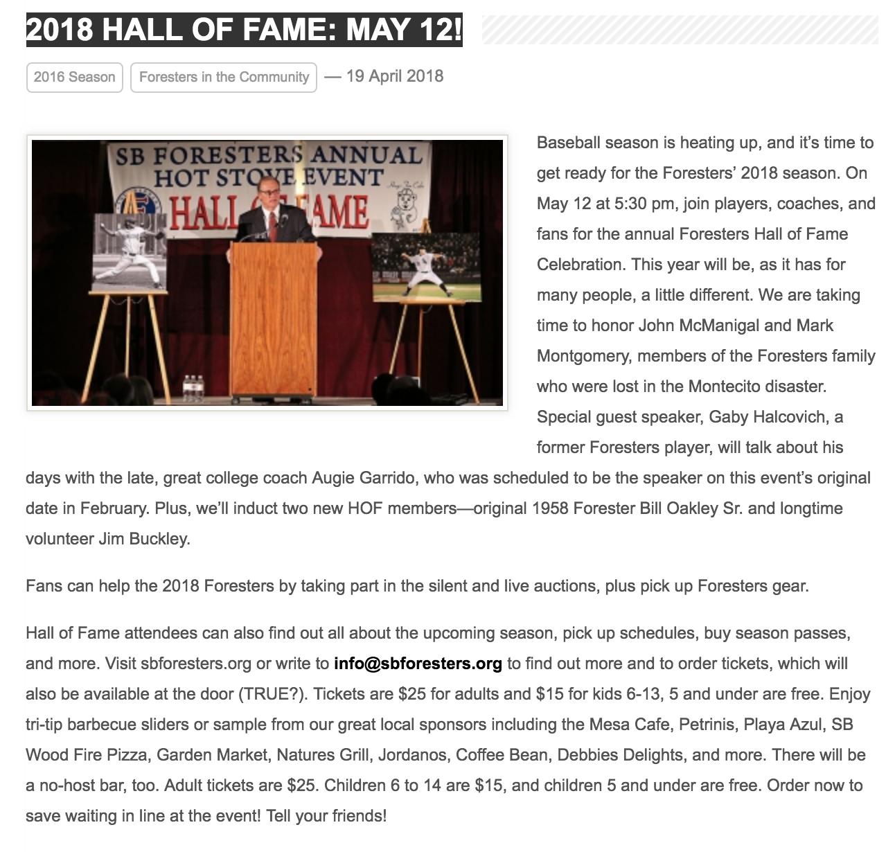SB Foresters Hall of Fame Celebration