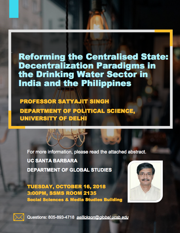 RESEARCH FOCUS GROUP TALK: REFORMING THE CENTRALISED STATE: DECENTRALIZATION PARADIGMS IN THE DRINKING WATER SECTOR IN INDIA AND THE PHILIPPINES