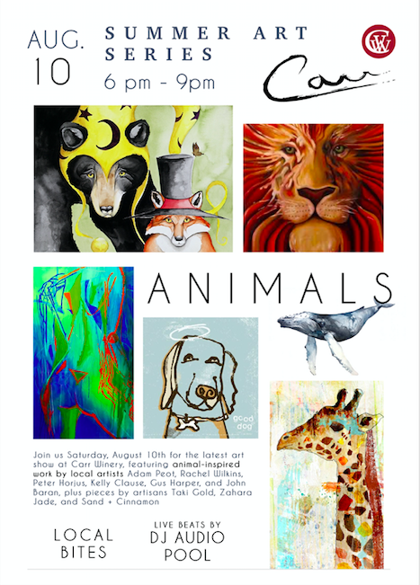 "Carr Winery Summer Art Series: ""Animals"" title="