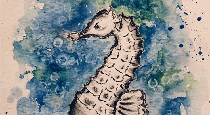 a seahorse drawn in charcoal with blue watercolor around it title=