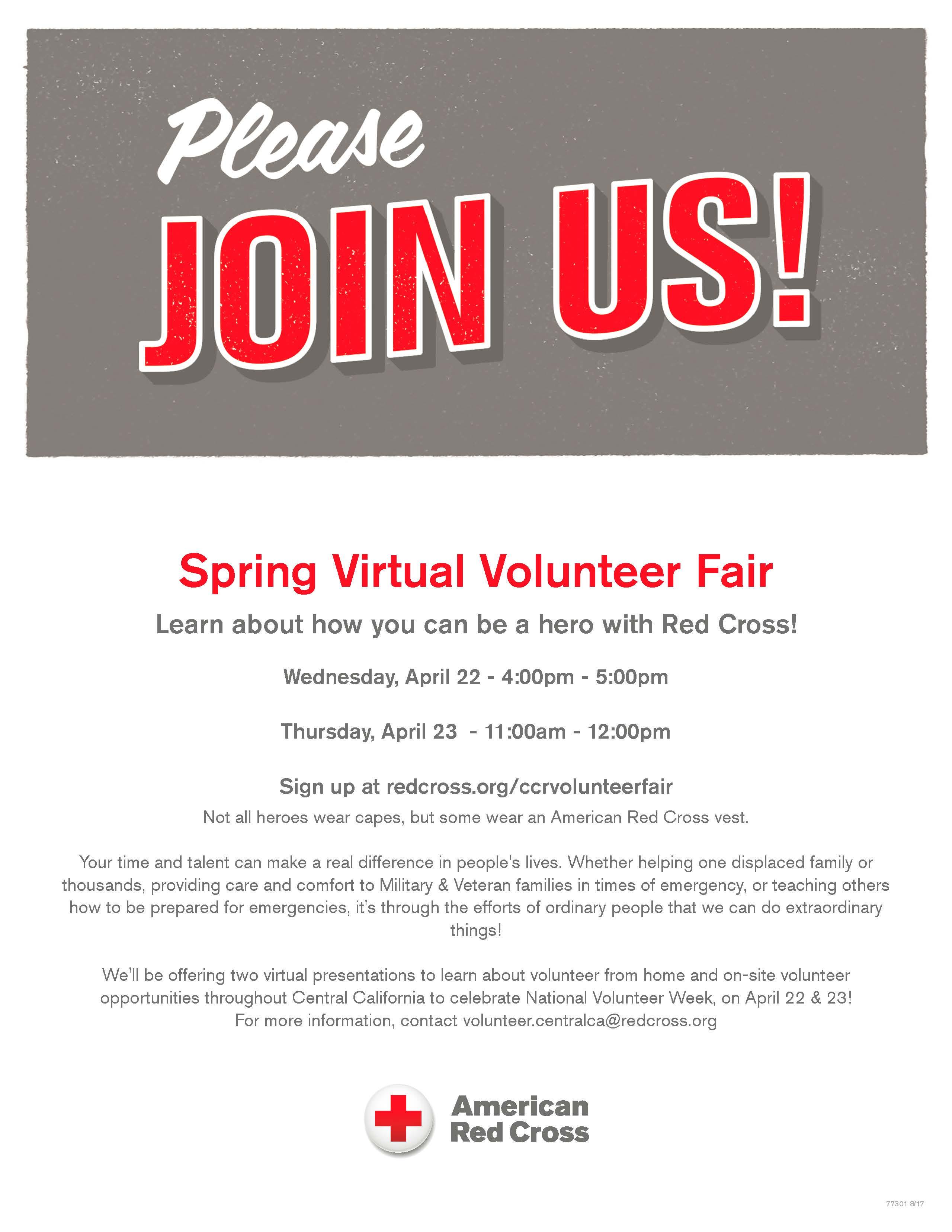 Red Cross Spring Virtual Volunteer Fair title=