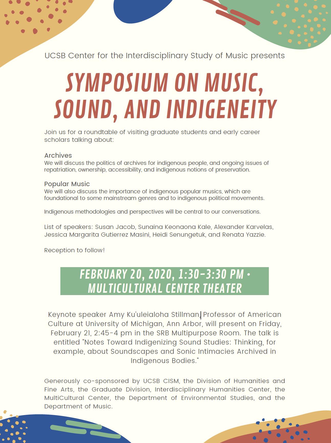 Symposium on Music, Sound, and Indigeneity title=
