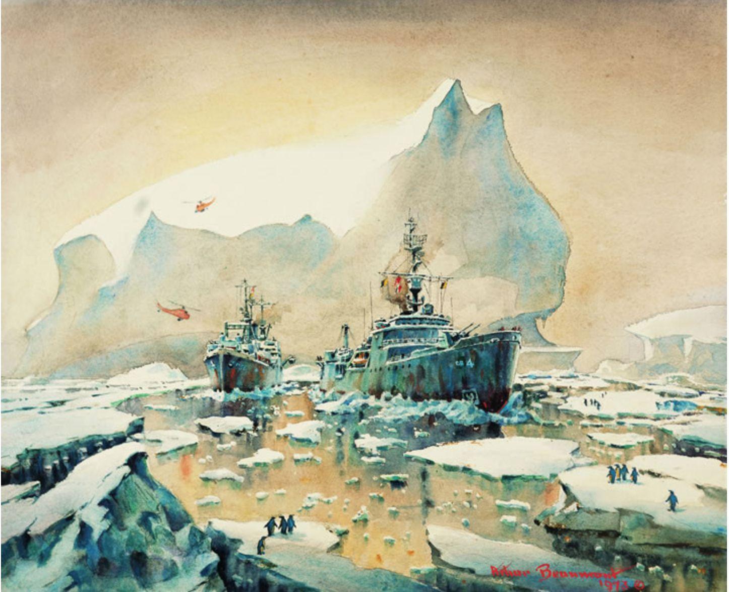 USS Glacier and USS Arneb, Antarctica, 1973, watercolor