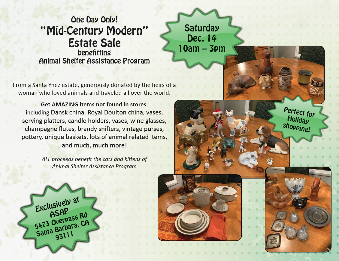Estate Sale benefiting Animal Shelter Assistance Program on Saturday December 14th from 10am to 3pm title=