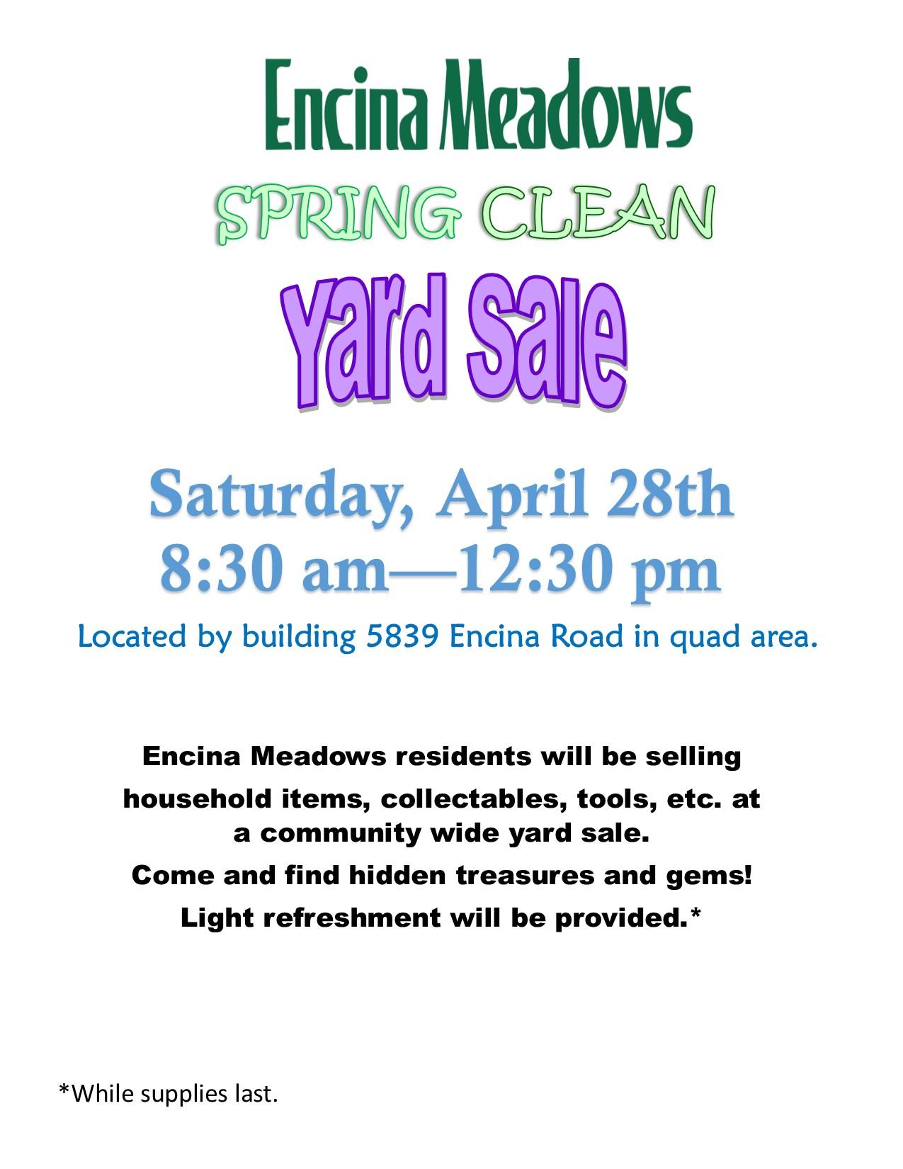 Encina Meadows Spring Bling Clean Yard Sale