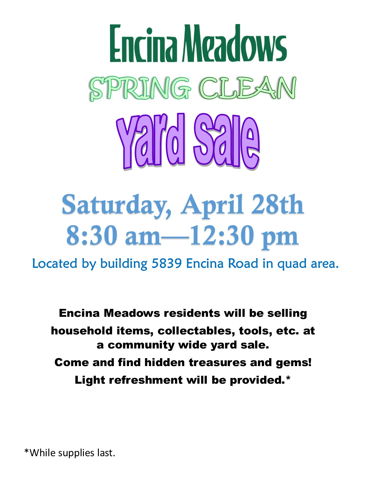 Yard Sale, Garage Sale, Estate Sale, Community Swap Meet