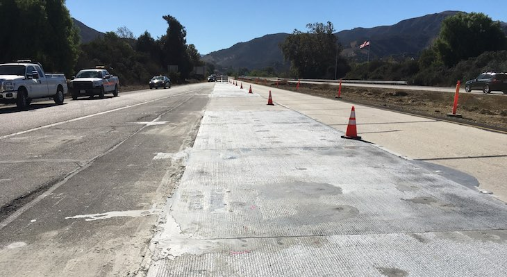 Concrete Slabs Installed on Highway 101 title=