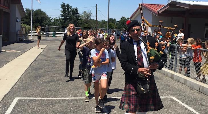 Bagpipe Tribute for Retiring Santa Ynez Teacher title=