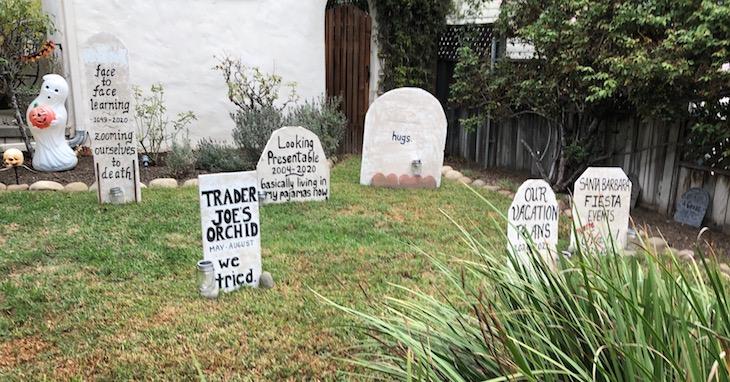 A pandemic gravesite in 2020 on Santa Barbara's Westside