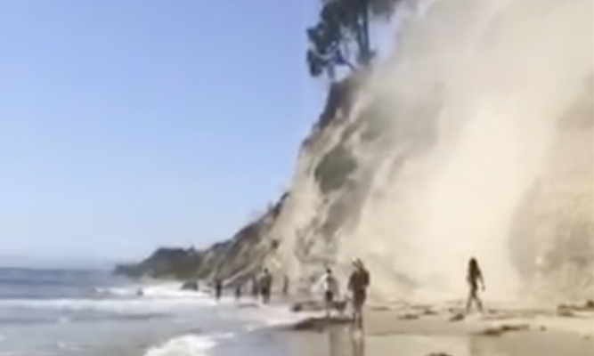 Rockslide Near Mesa Lane Beach