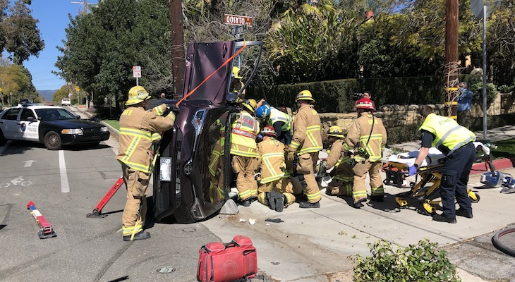 Three Injured in Rollover Vehicle Collision title=