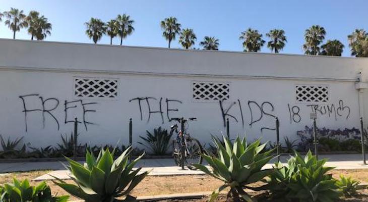 Graffiti Vandalism at Los Banos Del Mar Pool title=