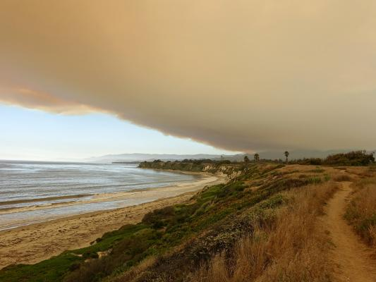 Whittier Fire Views from Western Goleta