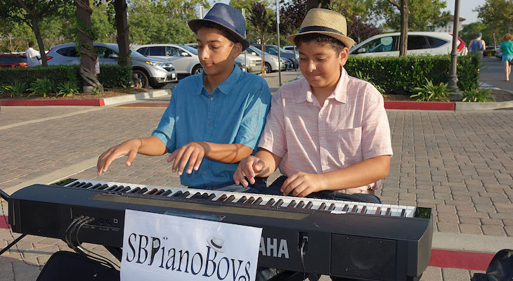 Piano Boys Perform at Camino Real Marketplace title=