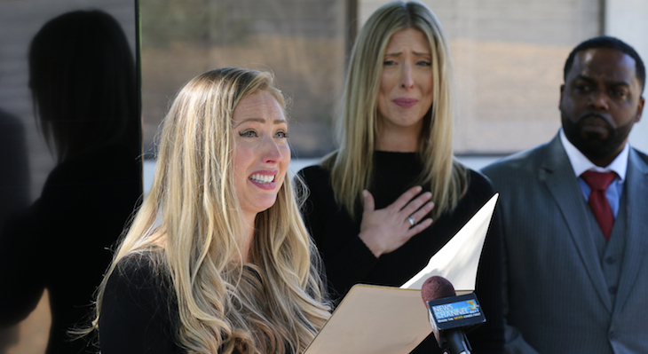 Kaitland Ely Sweet (speaking) and Kirsten Ely have accused Santa Barbara law enforcement of attempting to cover up the unlawful killing of their brother Cameron. | Credit: Daniel Dreifuss title=