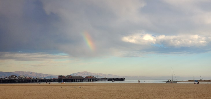 One Minute Rainbow Over Stearns Wharf title=