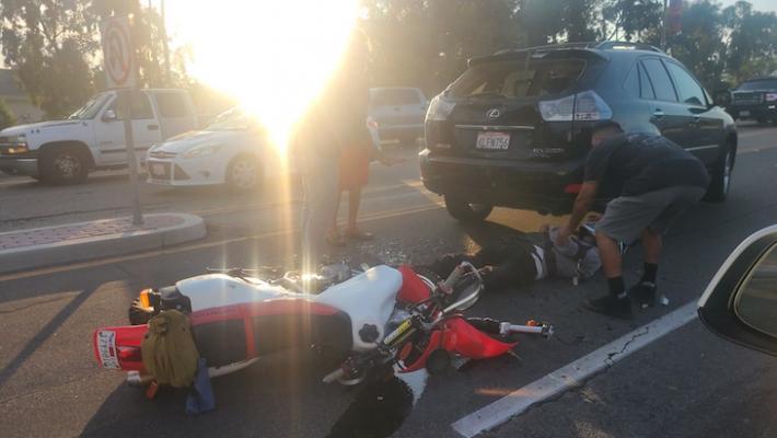 Motorcycle Collision on Storke Overpass
